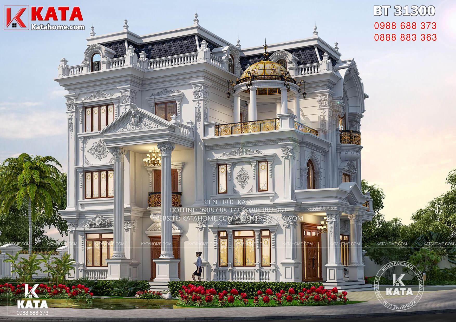 Không gian ngoại thất mẫu biệt thự tân cổ điển 3 tầng đẹp tại Vĩnh Long