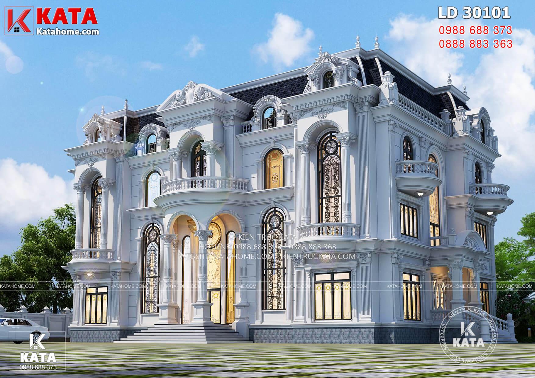 Không gian mẫu thiết kế biệt thự 3 tầng tân cổ điển tại Bình Định
