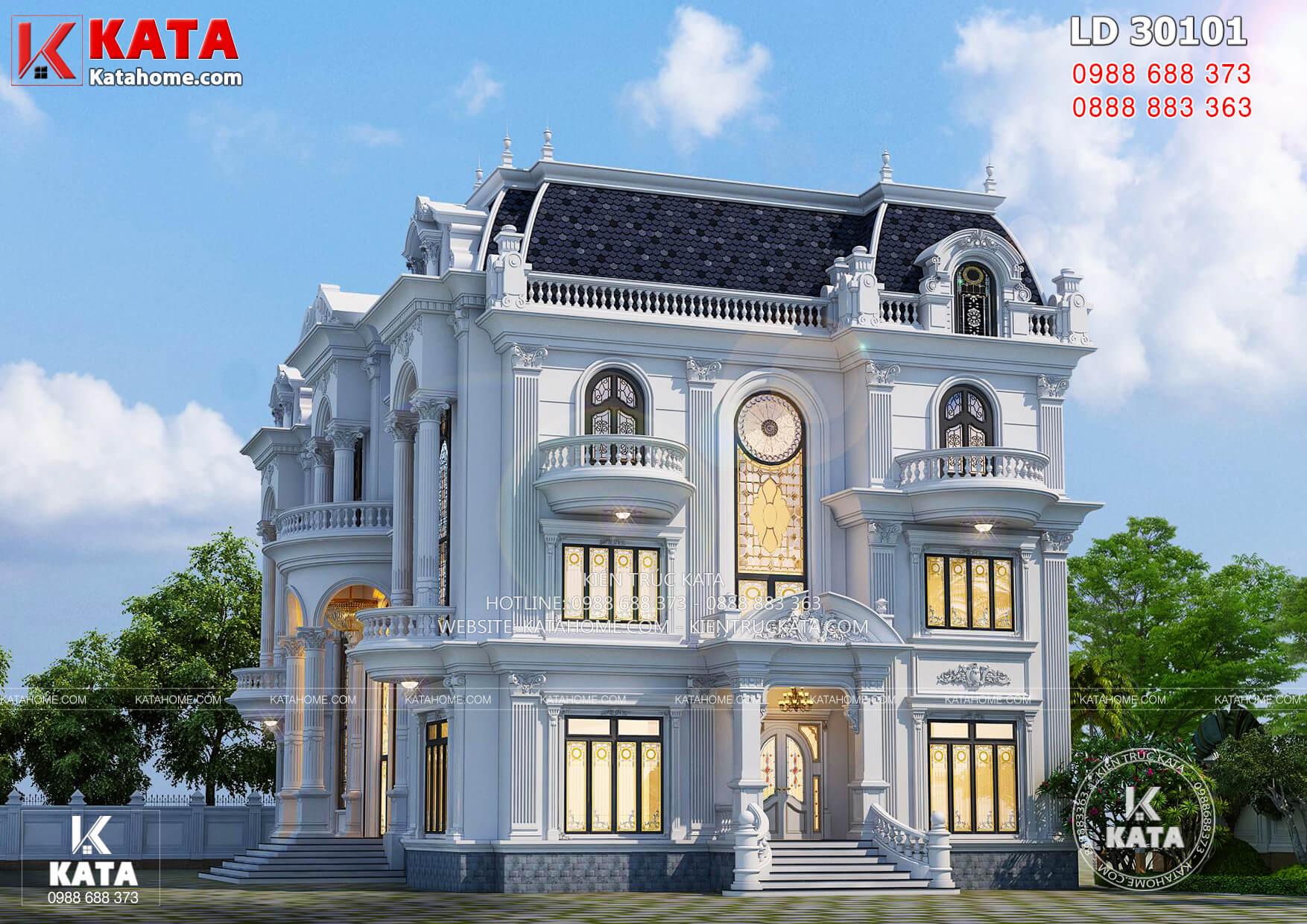 Một góc view đẹp mẫu thiết kế biệt thự Pháp tân cổ điển 3 tầng