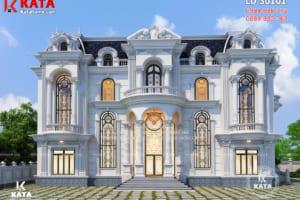 Phối cảnh 3D mặt tiền mẫu thiết kế lâu đài dinh thự đẹp 3 tầng kiến trúc tân cổ điển sang trọng, đẳng cấp