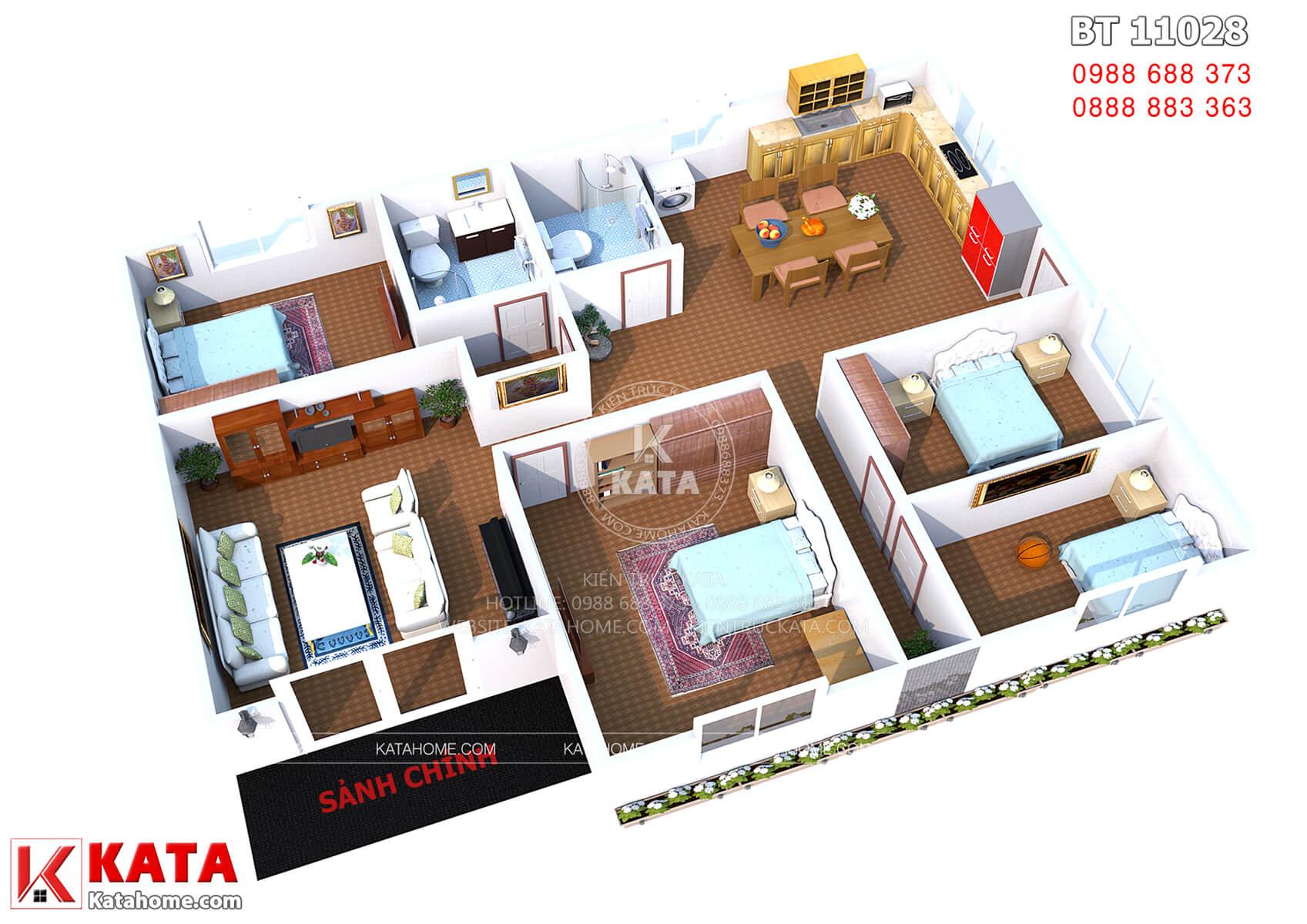 Thiết kế biệt thự nhà cấp 4 120m2 – Mã số: BT 11028