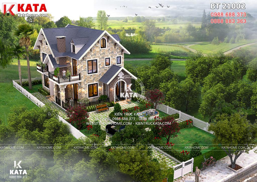 Thiết kế nhà 2 tầng phong cách Châu Âu BT 21002
