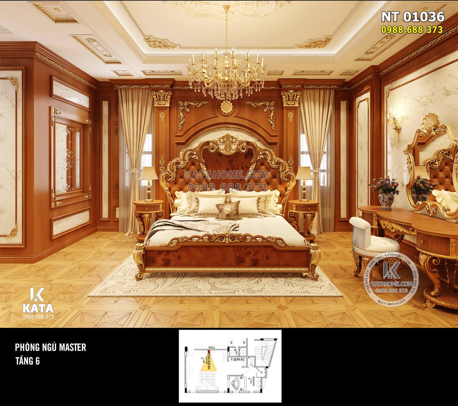 Thiết kế nội thất phòng ngủ Master tân cổ điển – NT 01036